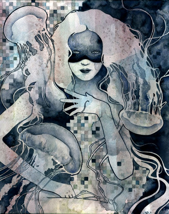 Kelly McKernan, Ethereal portraits in watercolor - Jellies