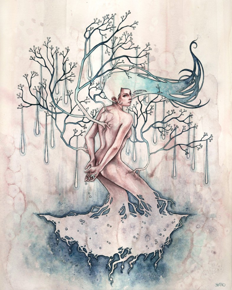 Kelly McKernan, Ethereal portraits in watercolor - Symbiosis